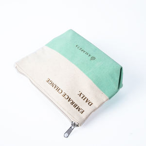 Eco Friendly Organic Zipper Blank Packaging Pouch Natural Recycled Linen Cotton Canvas Make up Cosmetic Bag