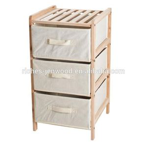 Pine Wood 3 Drawer Fabric Dresser Storage Tower for Bedroom