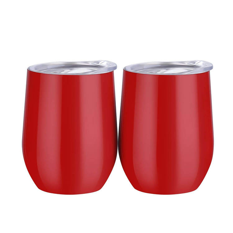 In Stock Wholesale Double wall Stainless Steel Wine Tumbler 12Oz Red