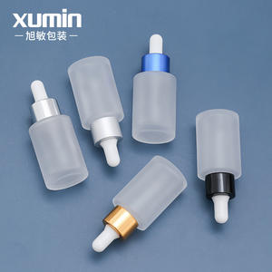 1oz 30ml clear frosted dropper bottle oil cosmetic packaging container with gold silver black white blue lid