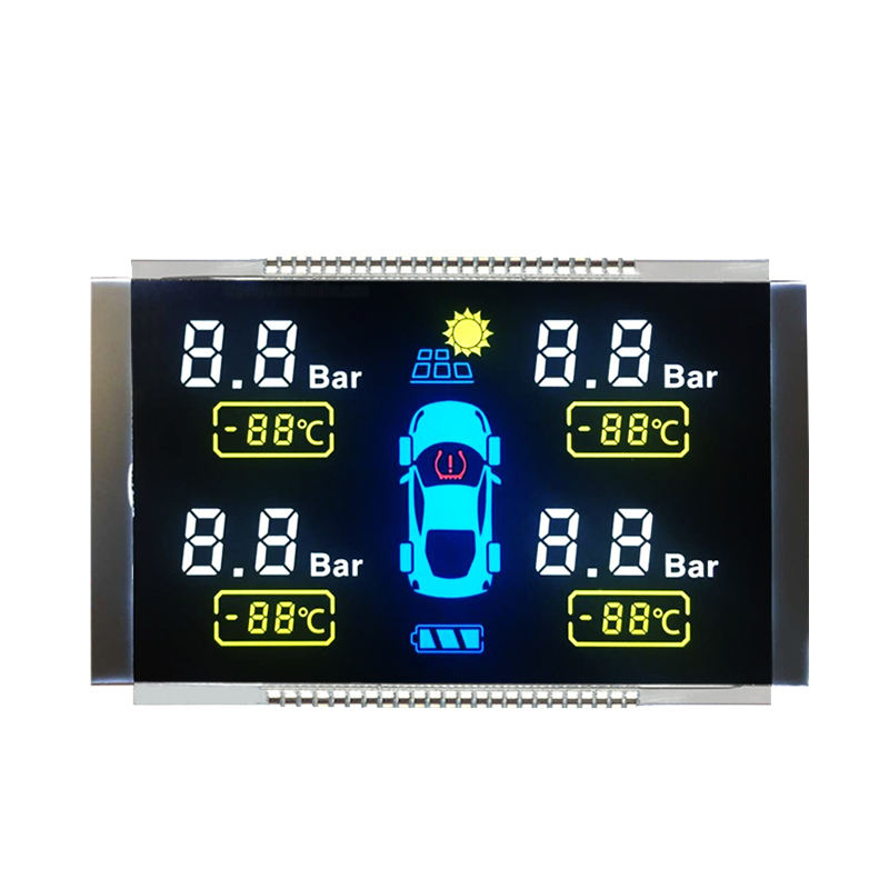 Custom customized 7 Segment VA Negative Transmissive LCD Display 4.5V Operating Voltage White LED Backlight