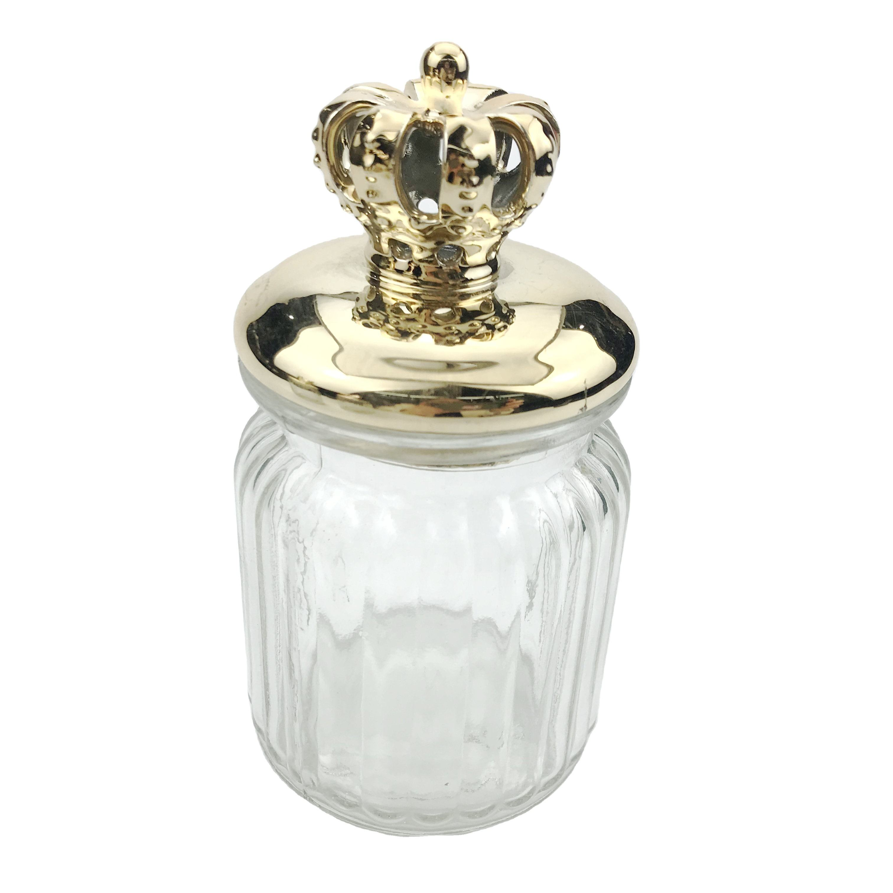 Clear Glass Storage Jars With Crown Lid Vintage Ribbed Food Sweet Spice Kitchen Pot candy jar cookie jar