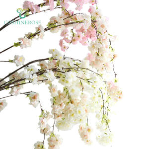 Real Touch Artificial Cherry Blossom Long Stem Sakura Cherry Blossom Branches for Wedding Office Window Decoration