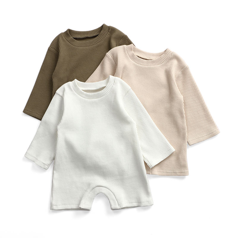 longsleeve wholesale organic ribbed baby clothing toddler clothes unisex kids wear romper
