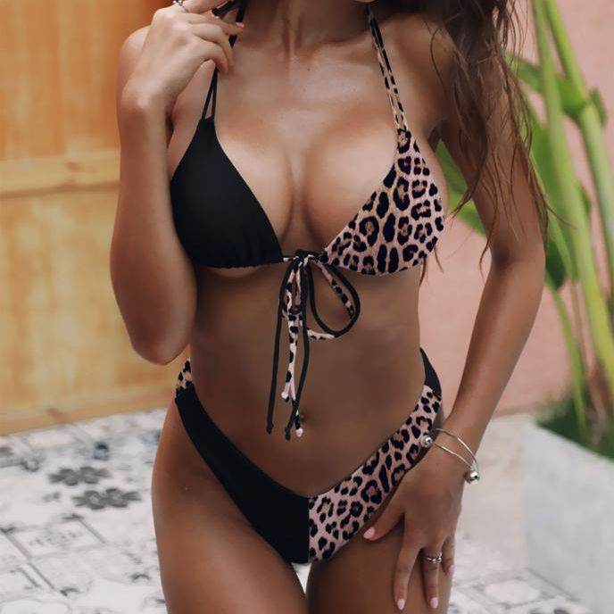 2019 explosion models ladies split swimsuit new leopard black and white stitching bikini hot hanging neck bikini
