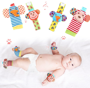4 PCS Baby Rattle Toys Wrist Rattle and Foot Socks Cute soft Monkey and Elephant Animal Squeaky Toy