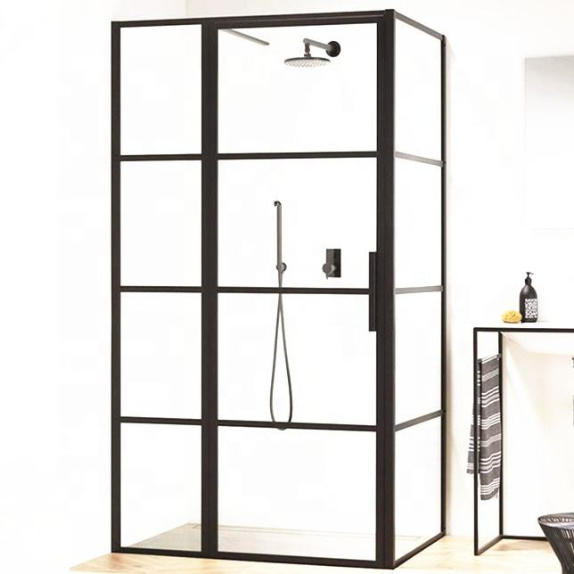 mesa bathroom black painted french glass corner shower enclosure doors