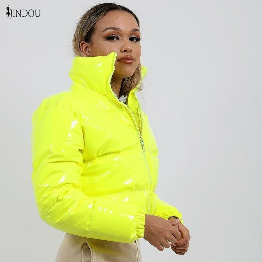 Glossy Puffer Jacket PU Leather Bread With Down And Cotton Jacket Warm Winter Women Hooded Shiny Bubble Fur Coats