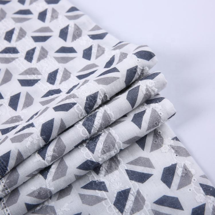 Wholesale low price geometric pattern mesh embroidery tejidos textiles digital print cotton fabric