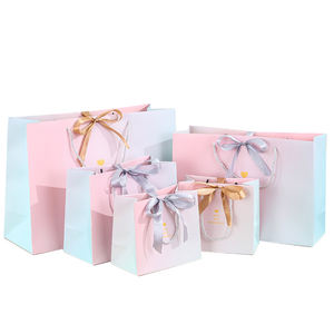 Personalised Luxury Boutique GiftBag  Packaging Custom Pink Paper Thank You Gift Bags with logo print/