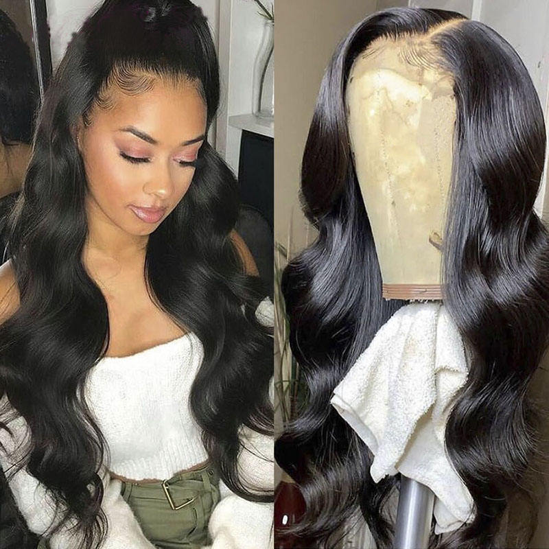 Body Wave Lace Front Human Hair Wigs Pre Plucked Remy Peruvian Wigs Long Straight Human Hair 13x4 Lace Frontal Wigs