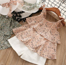 2-8 Years Baby Girl Clothing Sets Summer Chiffon Floral Kids Clothes Set with Hat Sweet Sleeveless Shirt Shorts Two Piece Outfit