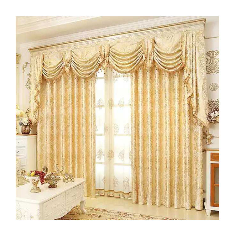 Luxury design popular cheap price bed room embroidery golden yellow curtain