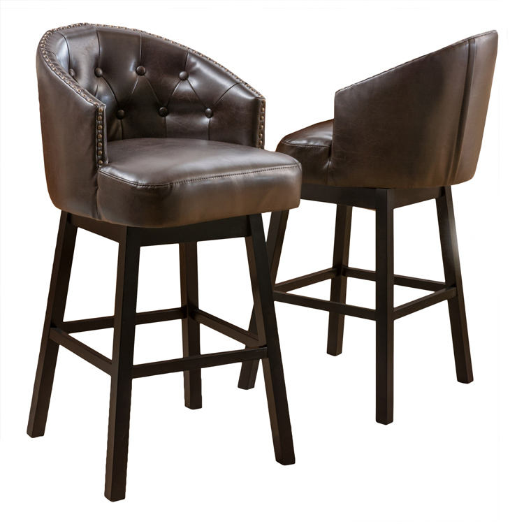 Westman Brown Leather Swivel Backed Barstool Set of 2