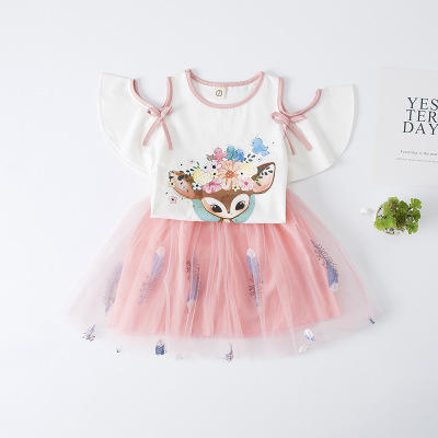 2020 Spring Summer Girls Clothes 2PCS Kids Sets Girls Outfits O neck T-shirt Tops+Mesh Skirt Clothes Set