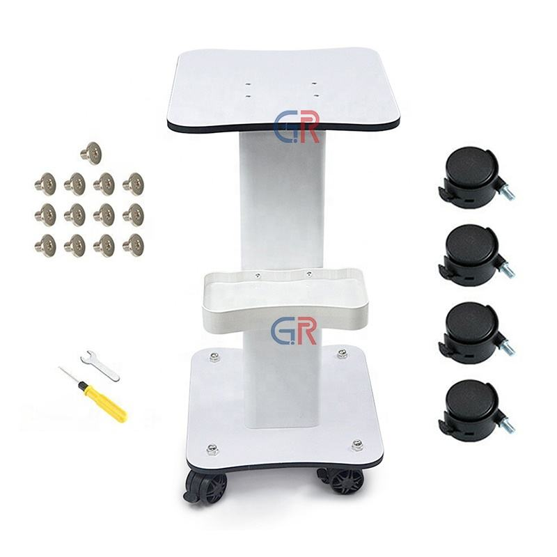 white 4 wheel iron beauty machine trolly ABS used for beauty center spa use light-weight beauty salon trolley