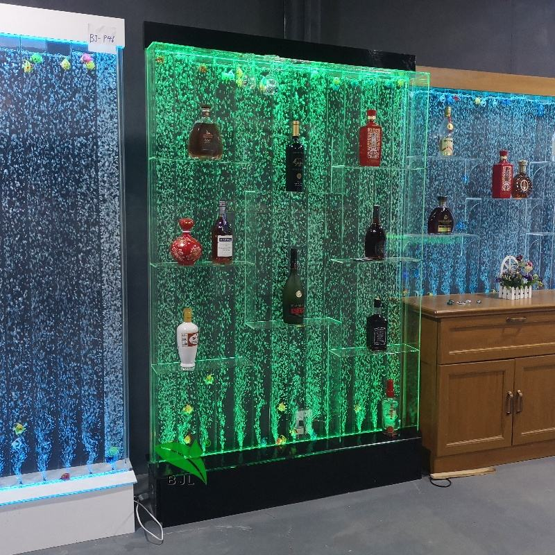Modern led lighting acrylic bubble water wall living room cabinets