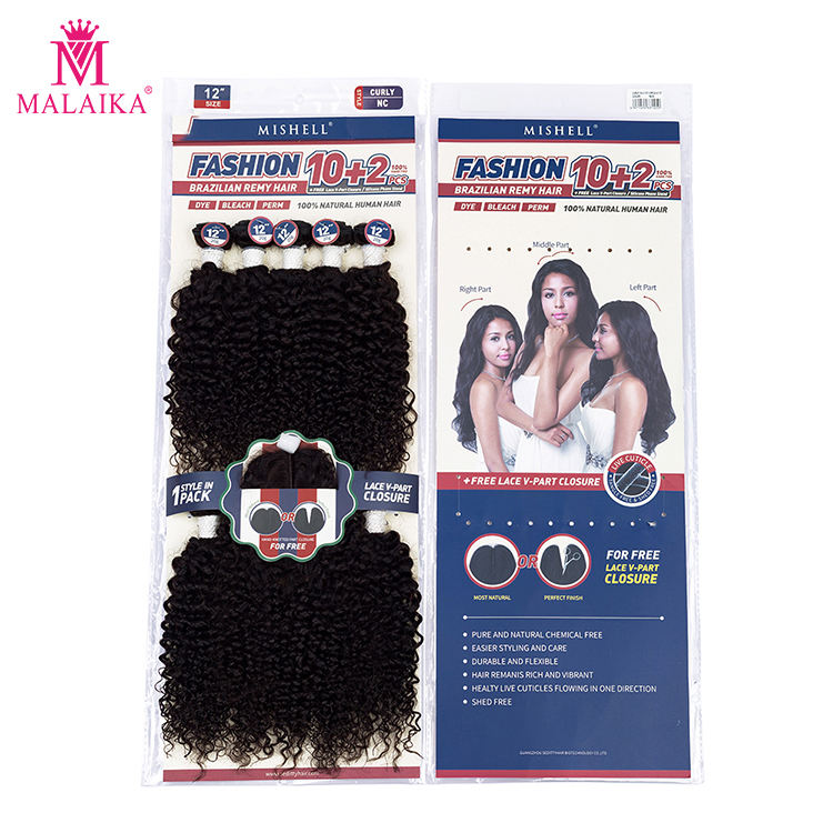 MALAIKA 2019 Best Selling Straight wave remy human Hair Weave 10pcs closure