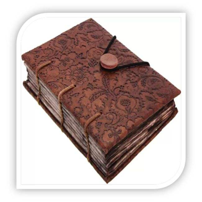 Floral Embossed Genuine Leather Journal Diary With Button Closure