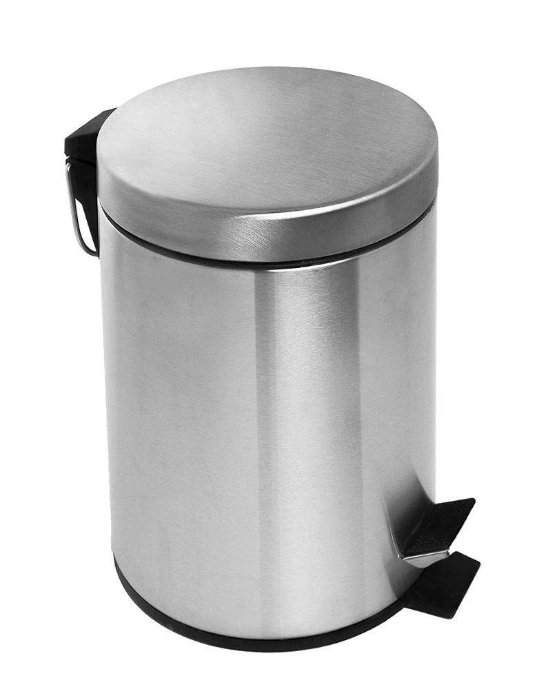 Color : A, Size : 8L Trash Can,Waste Bin Stainless Steel No Lid Open Top with Hoop Paper Basket Garbage Bin Rubbish Bedroom Living Room Kitchen Office Hotel