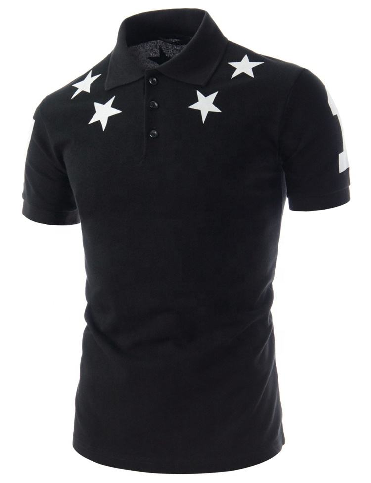 Low Moq Wholesale Short Sleeve Breathable Star Pattern Printing Men's Golf Polo T Shirt