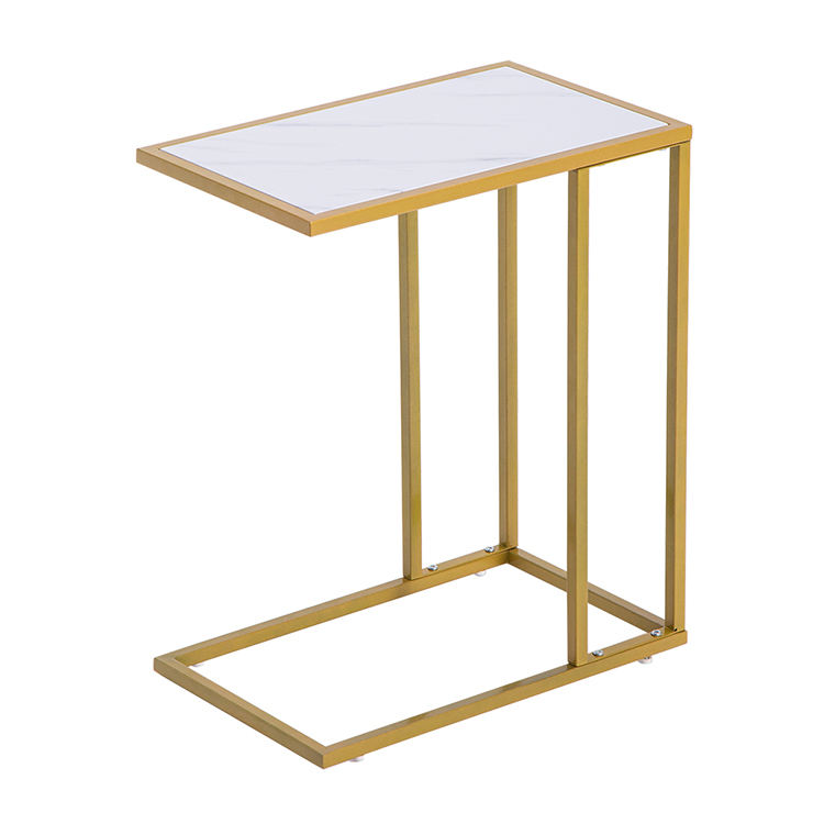 Family Fashion Golden Metal Marble Pattern Side Table