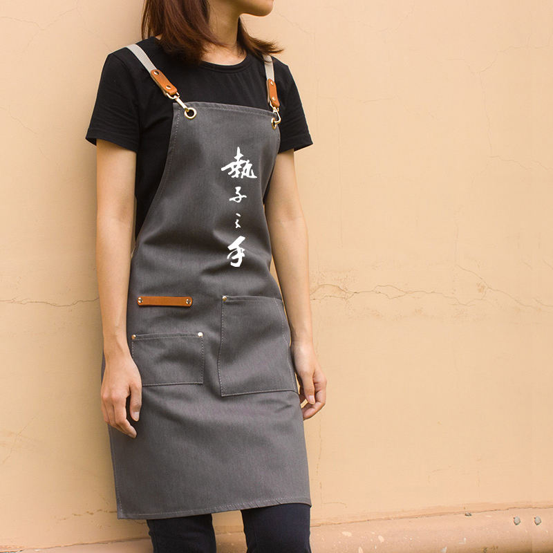 Apron custom printed pattern LOGO advertising apron creative couple kitchen Korean apron men and women overalls
