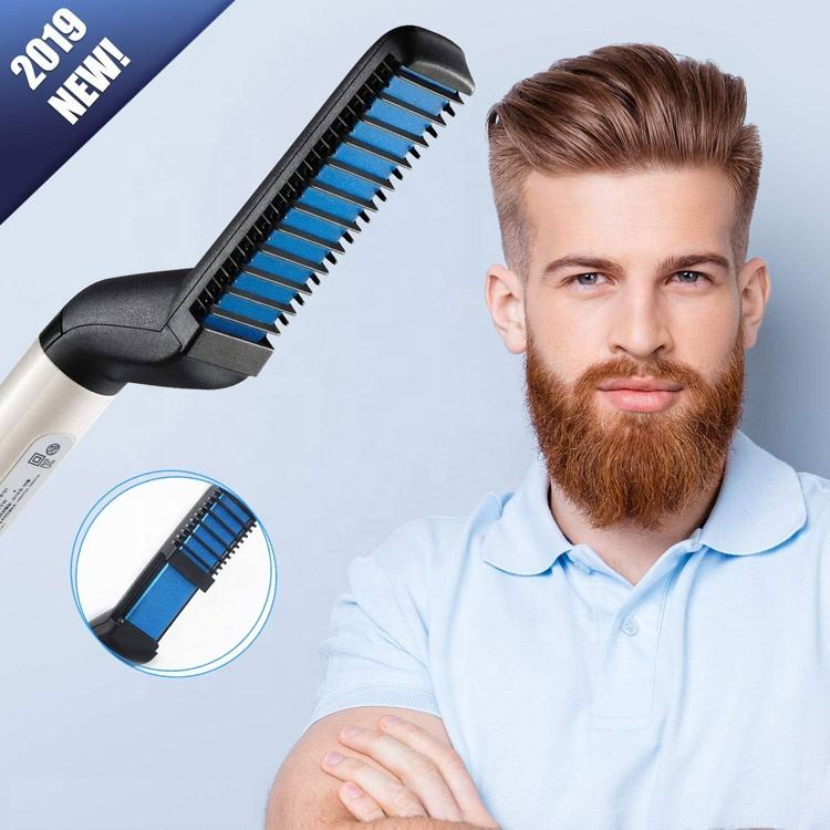 Multi Function Quick Hair Iron Styler For Men Hair Curling Comb Hair Curler Styling Brush Beard Straightener