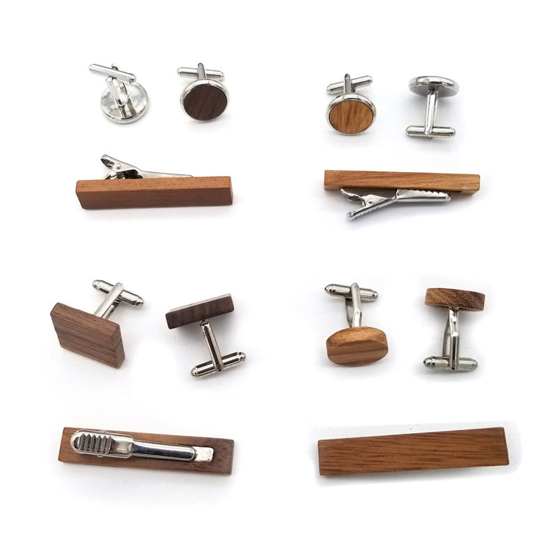 cheap classical novelty personalized custom wooden cuff link metal plain wood cufflinks for men