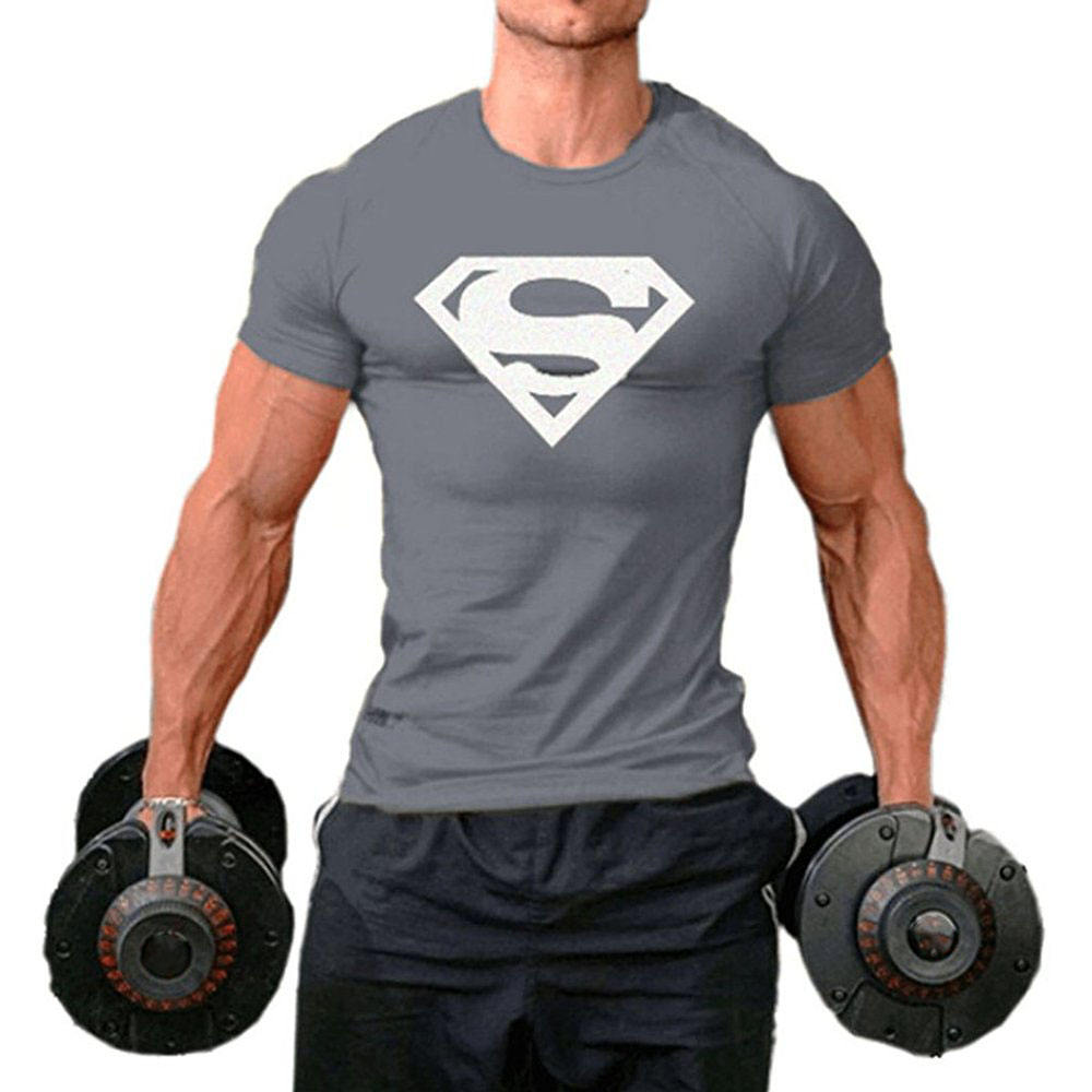 Homens Ginásio Muscle Fit Camisa Superman T
