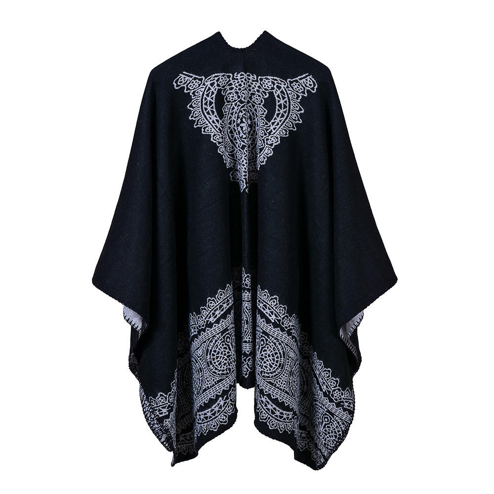 Hot Sale Poncho Cape Women Cardigan Travel Cashmere Pleated Shawl Winter Jacquard Wrap Warm Lace Pattern Pashmina Shawls