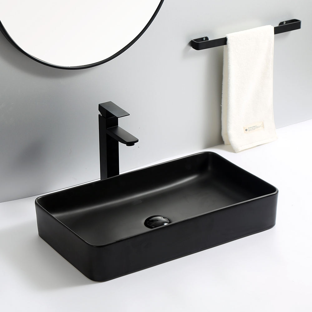 Modern advanced sanitary ware above counter basin commercial porcelain matt sink rectangular matte black bathroom sinks