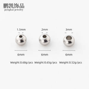 Hot Selling Jewelry Accessories Stainless Steel Straight Hole Beads Different Diameter DIY Beads