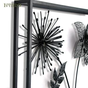 Ivy 3d Black Metal Bloem Tak Leaf Wall Art Hangings Home Decor