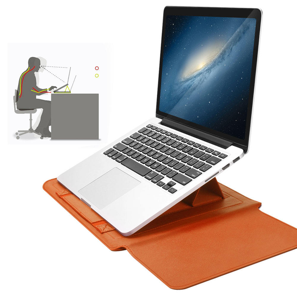 4 in 1 Leather Bag + Power Case + Cable Tie + Mouse Cover Foldable Invisible Adjustable Portable Laptop Stand
