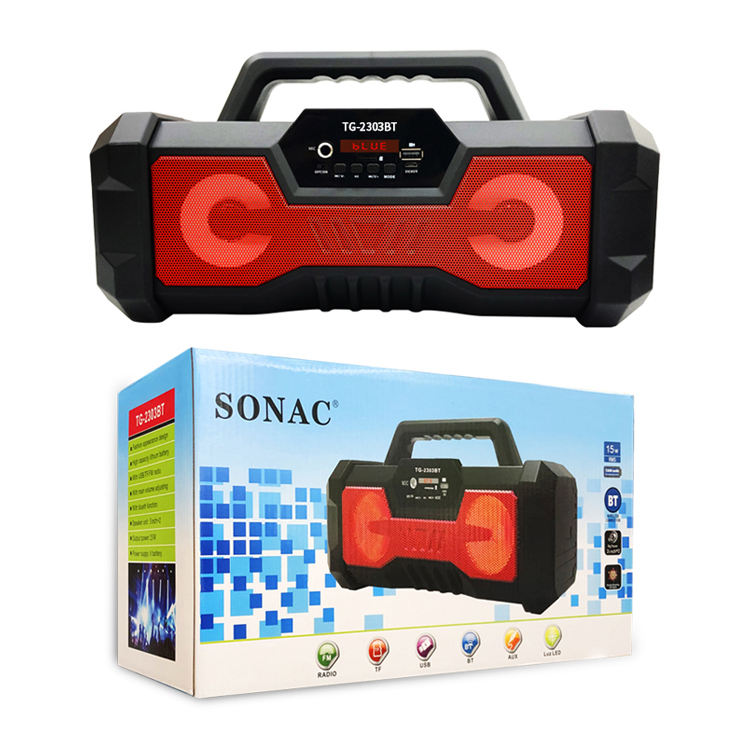 SONAC TG-2303BT 15W 1200mAh Lithium Battery with USB/TF/FM Radio Wireless Rechargeable Portable Speaker