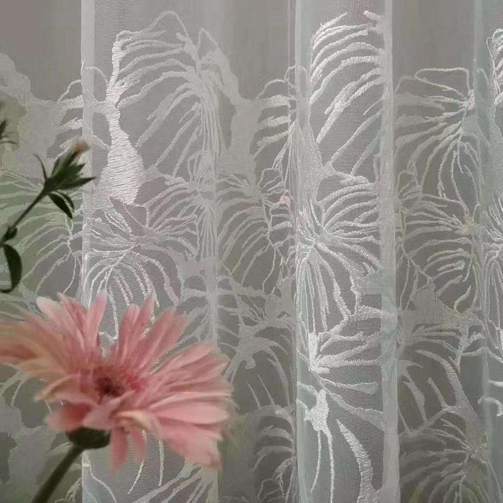 Hot selling modern printed sheer voile fabric for livingroom bedroom of summer flower style Sheer Curtain