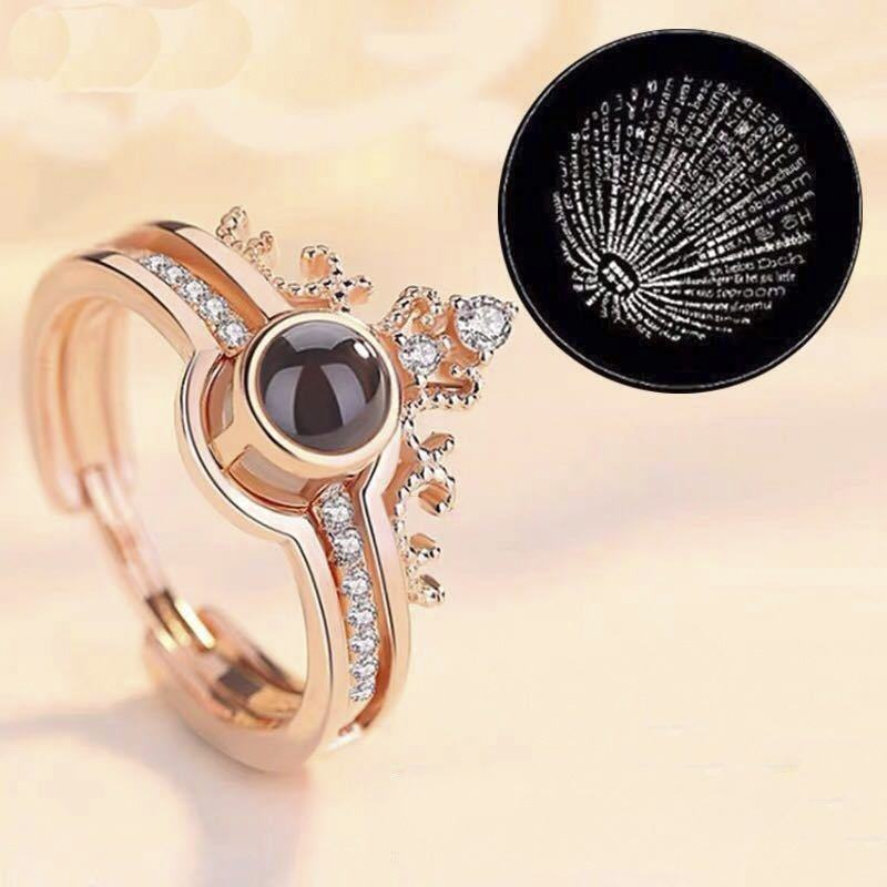 women crown silver Ring Jewelry High Quality Wholesale engagement ring 100 Languages