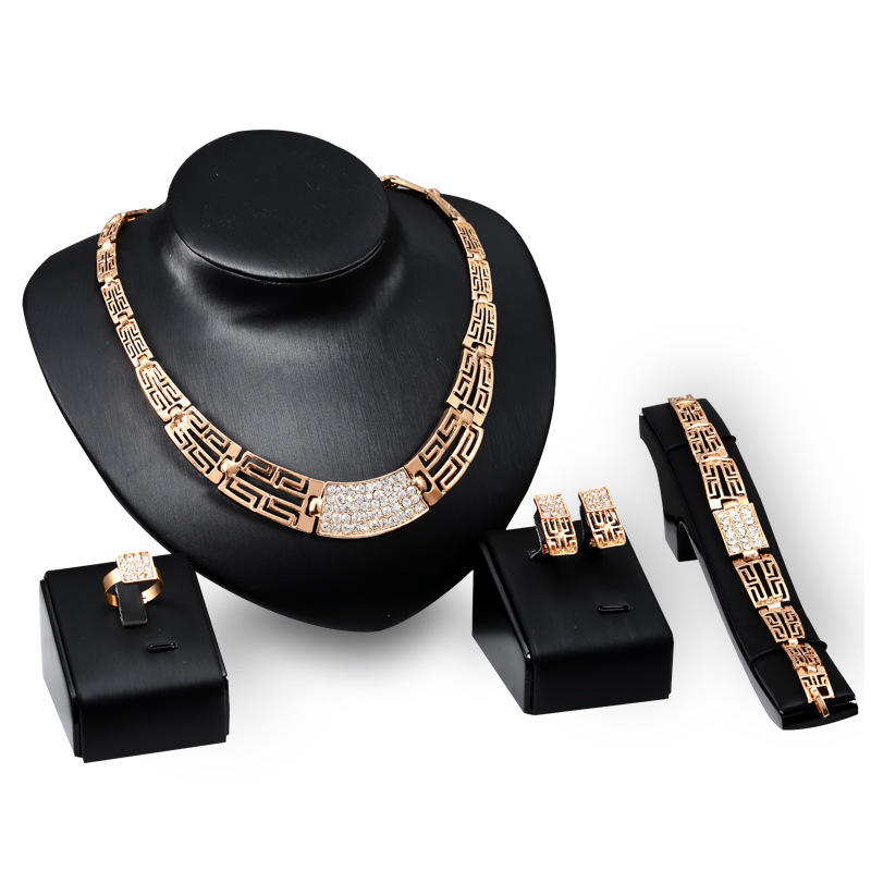 MJS30010 Fashion 18K gold plated jewelry set necklace earrings ring and bangle women luxury brand jewelry sets