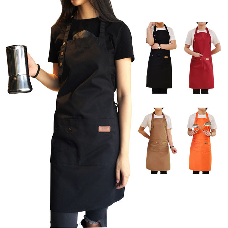 Cotton Long Black Kitchen Chef Apron Customized Logo Bib Apron Barista Apron