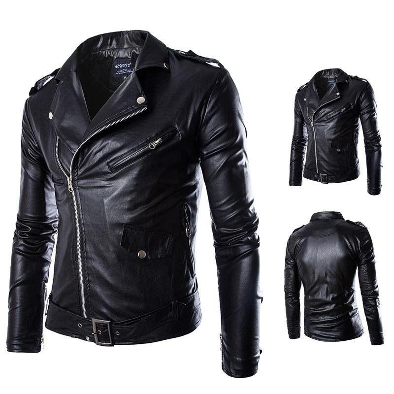 Autumn and winter Men Washed PU Leather white black Casual Motorcycle Jacket with cheap price