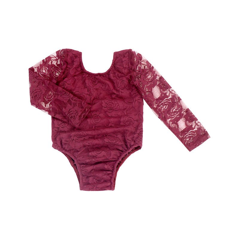 Long Sleeves Lace Romper Boho Bodysuit Kids Leotards