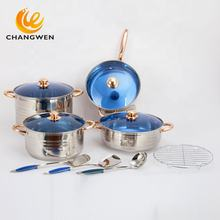 Eco friendly cookware kitchenware12 pieces italian stainless steel cooking pot cookware sets ccasserole saucepan