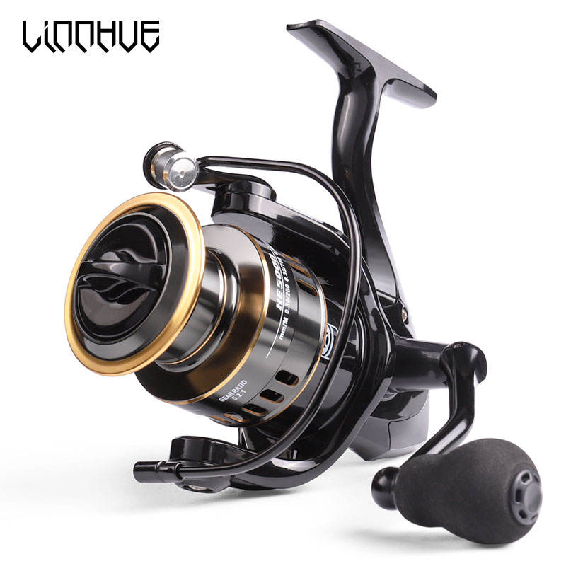 LINNHUE 2020 New Fishing HE1000-7000 High Quality Spinning Reel 8KG Max Drag 5.2:1 Gear Ratio Spool Saltwater Reel Fishing