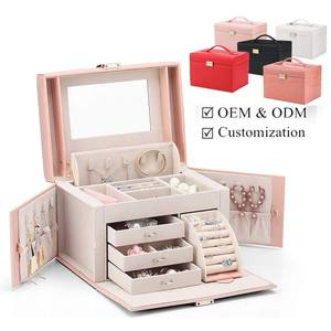 hot sale leather jewelry boxes jewellery packaging gift boxes leather earring jewelry storage box