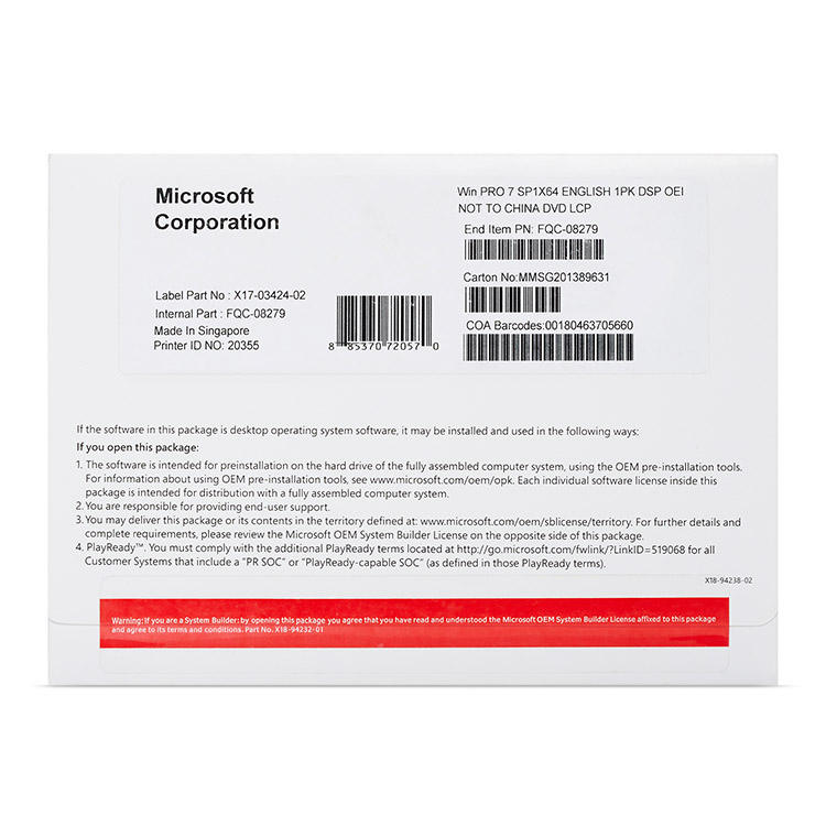 Weltweit Verwendet Microsoft Windows 7 Home OEM Paket Volle Version Software online download