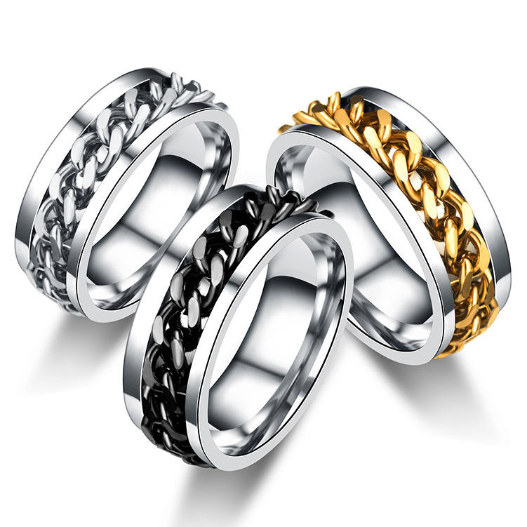 Amor Golden Chain Open Beer Jewelry Stainless Steel Couple Cool Men Valentine's Day Rings