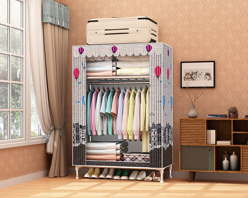 25mm Galvanized Tube 85cm Width Factory Direct Clothing Storage Fabric Wardrobe Storage Closet