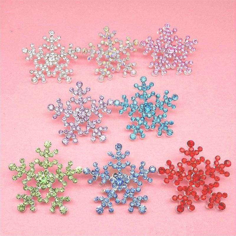 24mm Snowflake Metal Rhinestone Buttons shank in silver for Christmas Holiday