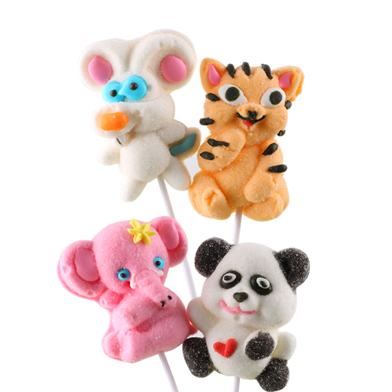 35g 15g 30g Animal shapes tiger panda rabbit bunny elephant mouse shaped Marshmallow Cartoon lollipop sweets candy